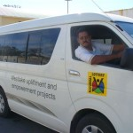 Greg Bennett, our driver, at the wheel of the new mini-bus (February 2011)