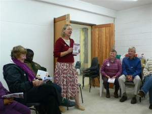 Liz Barnes addresses the group