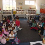 Grade 0 learners ready to go home at the end of the day.