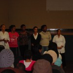 The teachers being introduced at the PTA