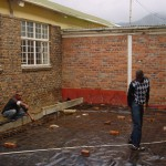 Prepaing the floor for concreting.  New staff-room