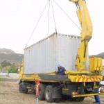 Container in position for transporting to Lynx Way